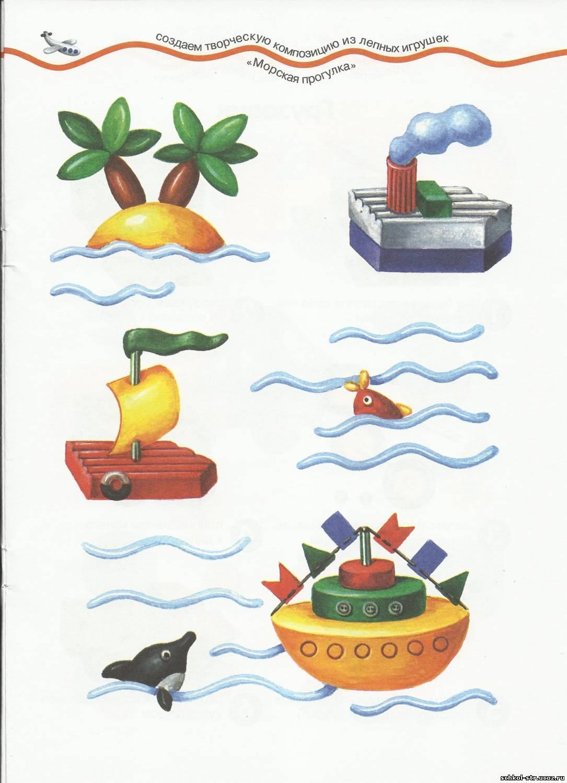 """Поделки из пластилина """"Кораблик и"""